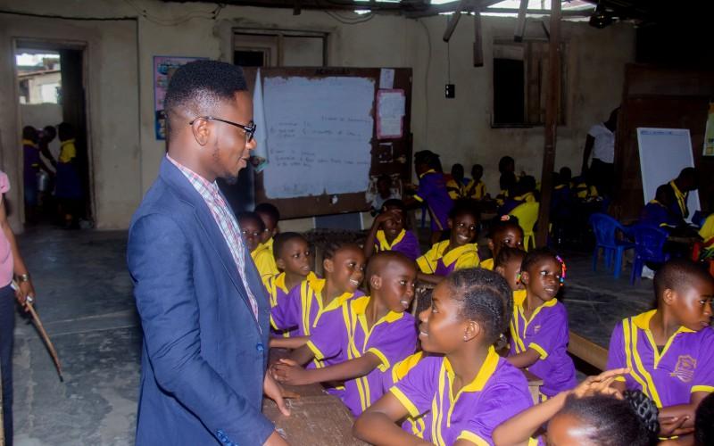 Talking to School children at AVW Career Education CSR initiative